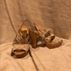 Coach tan platform heels